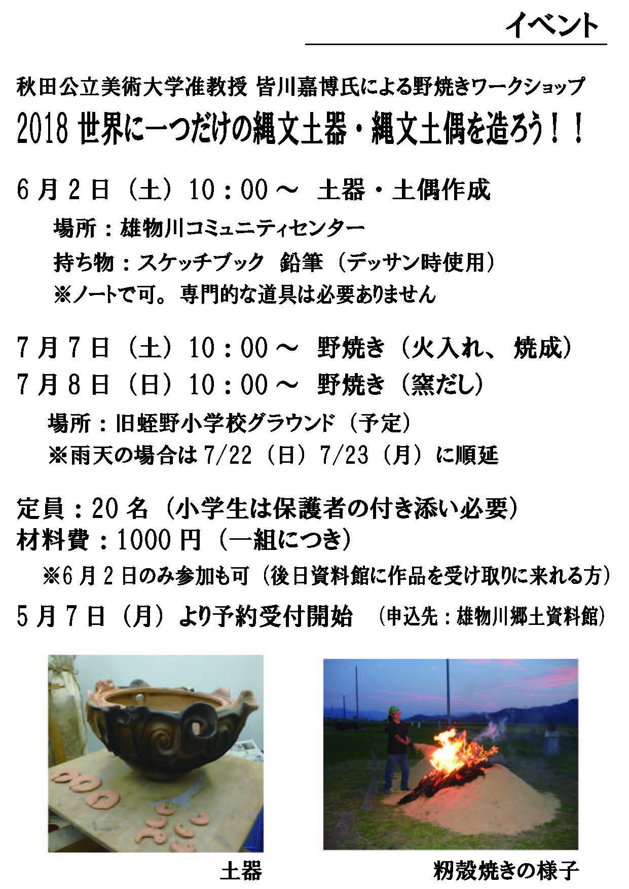 皆川准教授「野焼きワークショップ2018世界にひとつだけの縄文土器・縄文土偶を造ろう!」