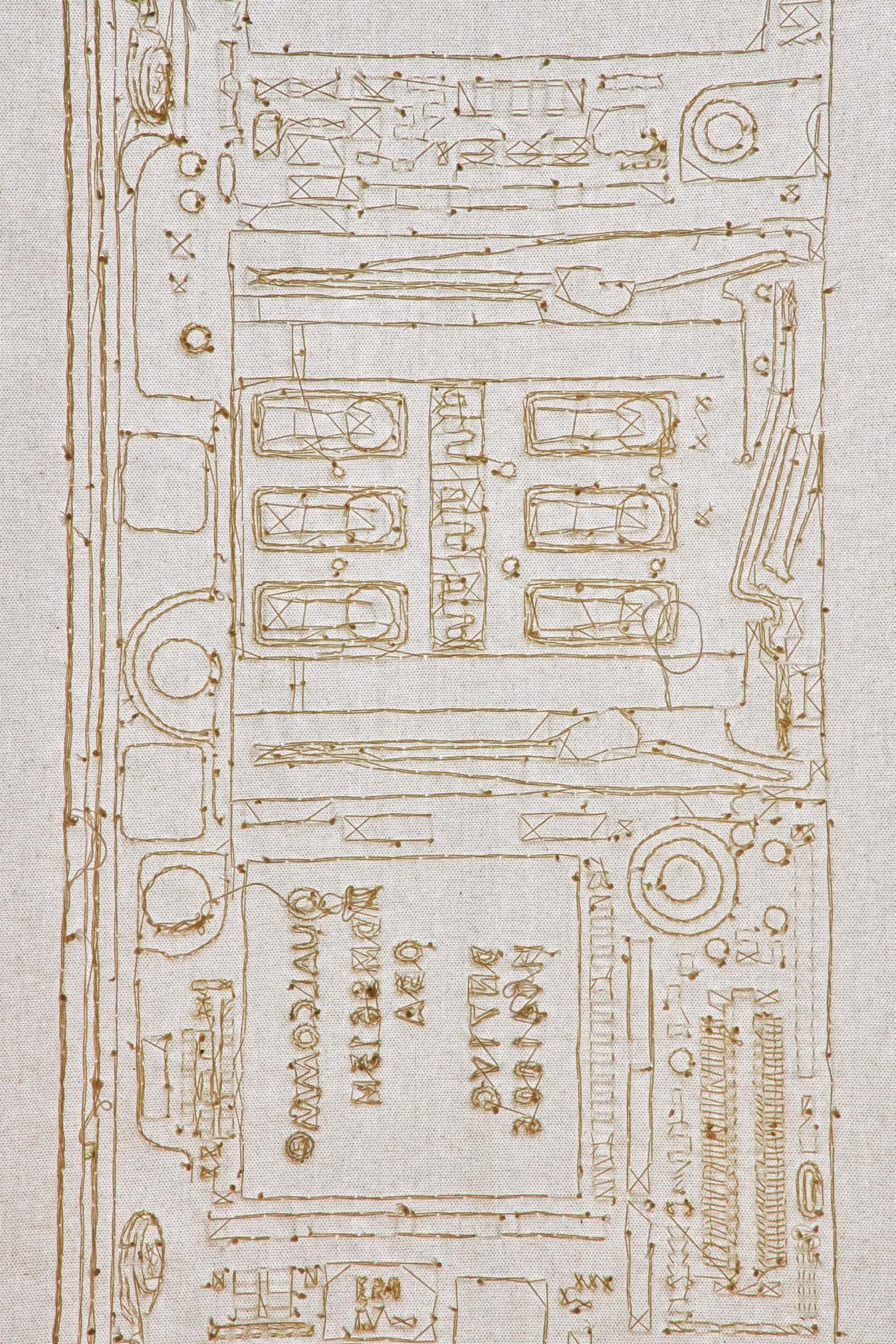 <p>CNA秋田ケーブルテレビ特別賞</p> <p>「日常のなかに」</p> <p>杉井 菜々子 Sugii Nanako<br /> (ビジュアルアーツ専攻)</p> <p>一見すると白い布が展示されているだけのようだが、作品の細部を見ると、この布を解いた糸で刺繍された存在に気付く。あらためて作品全体を見ると大きなスマートフォンの電子基板が出現する。いつも持ち歩く情報伝達のツールとしか捉えていなかったスマートフォンが壊れてしまったことで、見過ごしてしまうカタチが日常には多く存在しているということを問いかけている。丹念にひと針ずつされた刺繍の完成度も高く優れた作品である。</p> <p>平面作品</p>